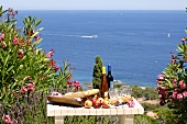 Laid garden table with a view of the sea