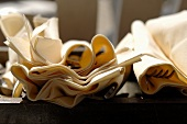 Fabric napkins and cutlery