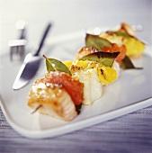 Fish and citrus fruit kebab