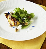Grilled Peach Salad with Greens, Goat Cheese and Walnuts