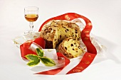 Panettone and a glass of vin santo (Italy)
