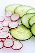 Slices of cucumber and radish