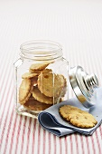Orange biscuits in a cookie jar