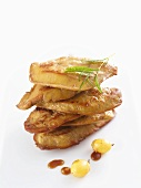Fried foie gras with green grapes and rosemary