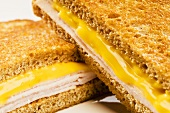 Grilled Ham and Cheese Sandwich; Halved