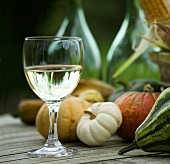 A glass of white wine and pumpkins on a wooden table
