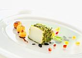 Baccala mit Kräuterkruste mit süssen Schalotten