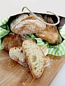 Ciabatta bread in a paper bag