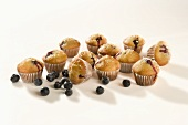 Mini Blueberry Muffins with Fresh Blueberries; White Background