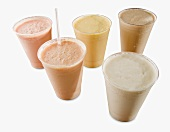 Assorted Fruit Shakes (Batidos) on a White Background