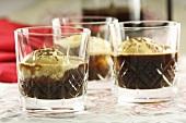 Three glasses of iced coffee