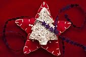 A chocolate Christmas tree on a felt star