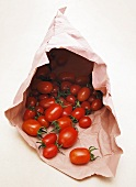 Lots of tomatoes in a paper bag