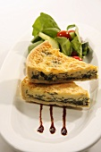 Spinach quiche with a side salad
