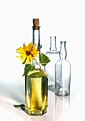 Sunflower oil and empty bottles