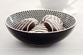 Chocolate biscuits in a ceramic dish