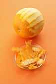 An orange and orange peel