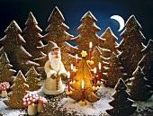 Weihnachtliche Waldszene mit Weihnachtsmann