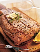 Cedar Plank Salmon with Lemon and Rosemary