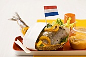 Matjes roll with onions and orange mayonnaise (Holland)