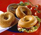 Assorted bagels (one with filling)