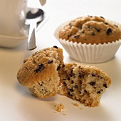 Chocolate chip muffin, broken open