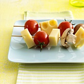 Cheese and vegetable kebabs