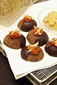 Chocolate biscuits with candied fruit