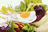 Hard-boiled egg as component of a healthy salad