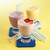 Milkshakes: banana, strawberry, redcurrant