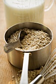 Rolled oats in a pan