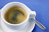 Creamy espresso in cup