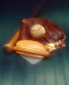 Hot Dog on a Bun with Mustard; Baseball Glove, Bat and Ball