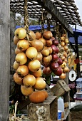 Assorted Onions Hanging at an Outdoor Market