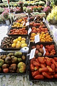 Many Baskets of Assorted Heirloom Tomatoes at a Market