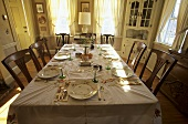Dinner Table Set in Dining Room
