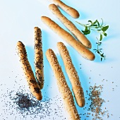 Grissini with poppy seeds, sesame and herbs