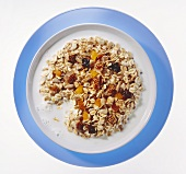 Muesli with dried fruit and milk