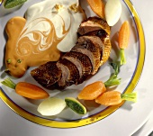 Roast duck breast with mayonnaise-balsamic vinegar sauce