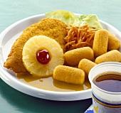 'Hawaiian' chicken escalope