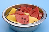 Pieces of melon in a dish