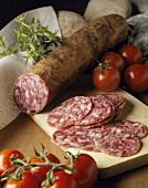 Still life with salchichon (salami, Spain)