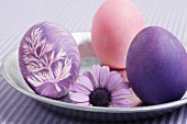 Three coloured Easter eggs with flower on a plate