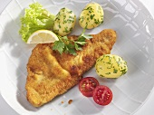 Wiener Schnitzel (veal escalope) with parsley potatoes