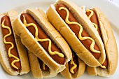 Six hot dogs with mustard
