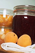 Apricot jam and berry jam