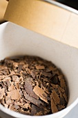 Chocolate shavings in a box