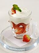 Layered strawberry and yoghurt dessert