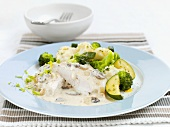 Chicken breast with mushroom sauce and vegetables