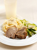 Lamb chops with mashed potato, courgettes and asparagus